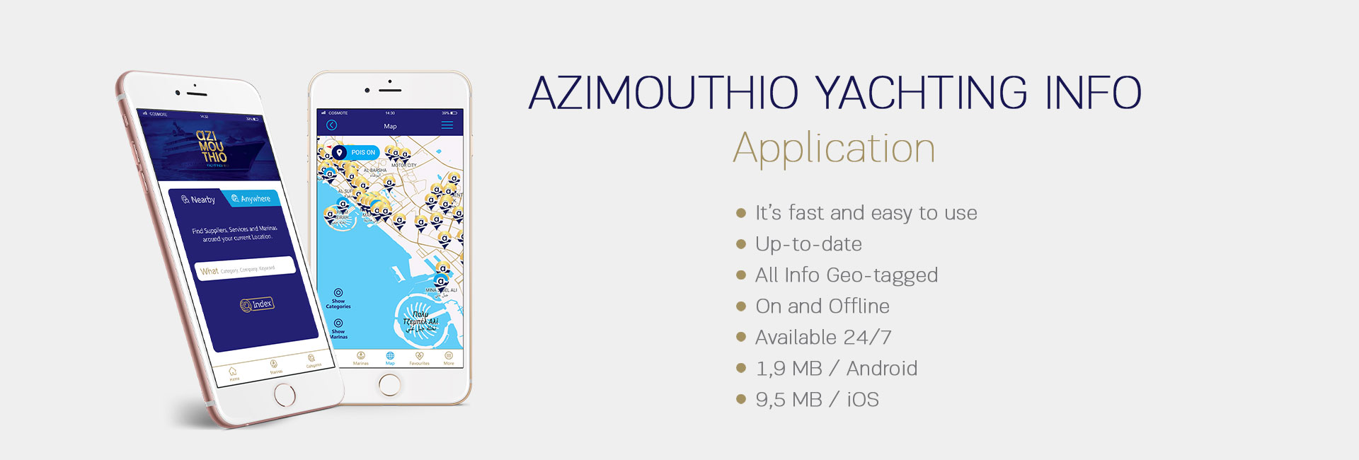 Azimouthio Yachting Info mobile application top cover