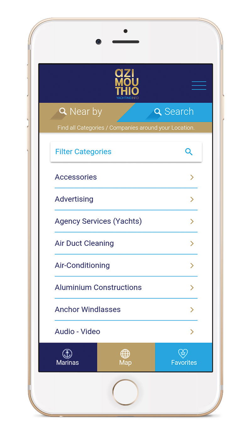 Nearby APP by azimouthio yachting info directory